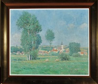 a french provincial landscape with a village and its church in the middle distance by fernand antonin mercié