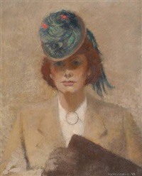 élégante au chapeau by jacques van (jaak) melkebeke