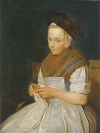 jeune saxonne tricotant by charles françois hutin