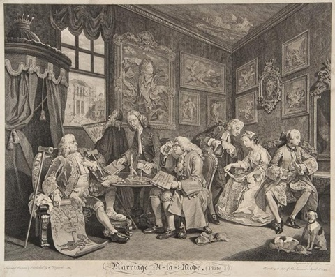 marriage à la mode set of 6 by william hogarth
