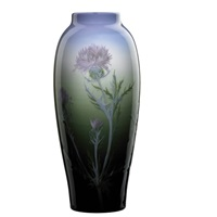 tall iris vase with thistle by albert r. valentien