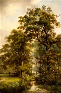 man met hond in parklandschap by jan willem van borselen