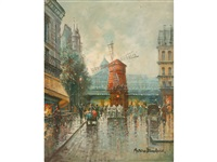 a view of figures on a parisian street below the moulin rouge by antoine blanchard