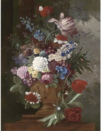 tulips, roses, carnations, auriculas and other spring flowers in a urn on a ledge by james (sillet) sillett