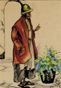woman by flower pot by alice scott