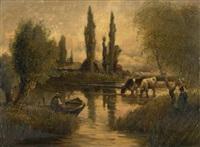 fischer und kühe in gewässer vor gehöft by jules dupré