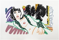 monica in robe with motherwell by tom wesselmann