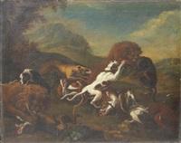 lion attaqué par des chiens by carl borromaus andreas ruthart