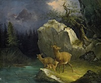 rehe am gebirgsbach by joseph heicke