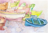 boats and flowers by piero aversa