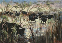 troupeau de taureaux by louis (pierre) rigal
