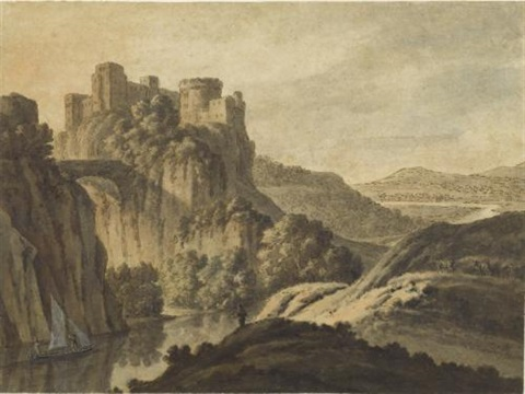 a river landscape with a castle on an escarpment by robert adam