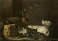 cane da caccia con armi e cacciagione by arcangelo resani