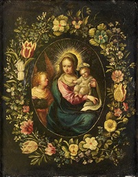 the madonna and child with an angel, within a garland of flowers by andries daniels