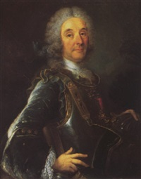 portrait of a gentleman, wearing a grey coat and armour, resting his left hand on a helmet by p. de lesseline