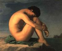 jeune homme nu assis sur un rocher: figure d'étude by pierre francois bouchard