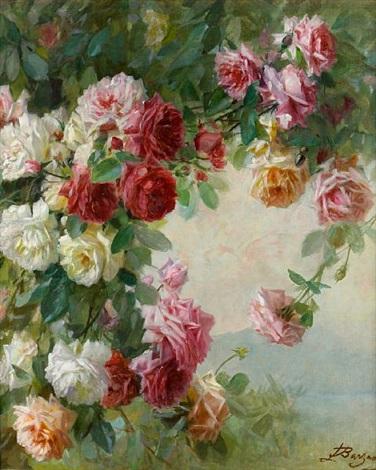 roses at a lake by licinio barzanti