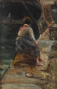 pescatrice sul molo by giovanni campriani