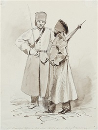 beduine (+ ein türkischer offizier und eine schildwache; brush and ink and wash over pencil; 2 works) by grigory gagarin