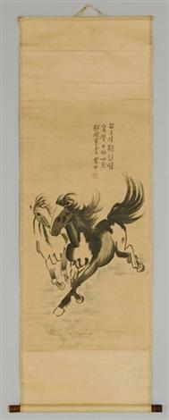 two galloping horses by xu beihong