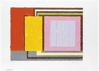 untitled (pink and orange cells) by peter halley
