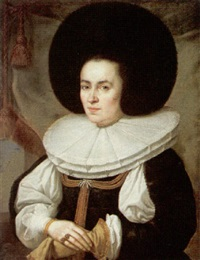 portrait of a lady, wearing a black dress with a broad lace ruff and fur hat by pieter nys