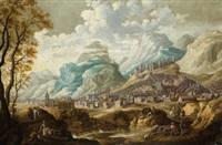 escena de campesinos con ciudad al fondo by cornelisz mahu