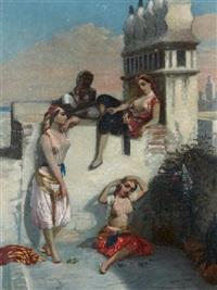 femmes sur une terrasse à alger by emmanuel joseph lauret