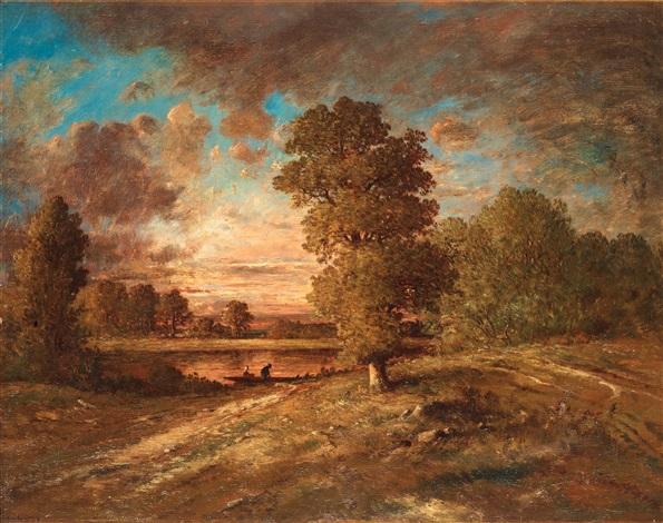 paysage au crépuscule landscape with sunset by théodore rousseau