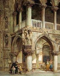 straßenszene vor dem palazzo ducale in venedig by georg pezolt