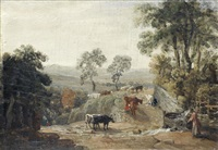 cows in a rural landscape by james ward
