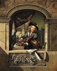 musicien jouant du violon devant sa fenêtre, un intérieur hollandais en arrière-plan by gerrit dou