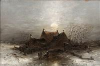 vinterlandskab med legende børn på isen, i baggrunden landsby og i det fjerne mølle by t. renard