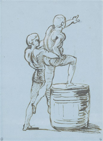 a study for the principal group of the raft of the medusa a male figure assisting another on to a barrel to make a signal to the argus by théodore géricault