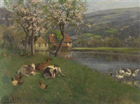 sommertag am see by adolf lins
