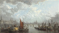 a london panorama, a view of somerset house, saint paul's and the waterloo bridge by john macvicar anderson