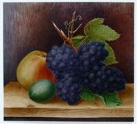 stilleben mit blauer traube, apfel und limone by johann wilhelm lindlar
