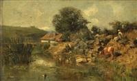 bord de rivière avec femme et vache by adolphe appian