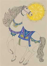 a rearing horse (+ a pair of horses; 2 works) by laila shawa