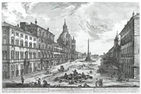veduta di piazza navona (set of 4) by jean barbault
