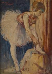 danseuse se chaussant by jos de smedt