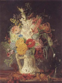 a vase of flowers with self portrait by frederick smallfield