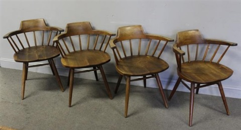Set Of 4 Captainu0027s Chairs By George Nakashima