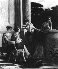 ladies gossiping on a balcony by emmanuele costa