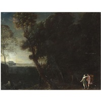 a wooded landscape with two hunters (cephalus and procris?) by francesco (da gubbio) allegrini