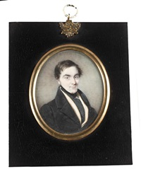 a gentleman, wearing black coat, white waistcoat and chemise, black stock and cravat, onyx shirt pin by p.g. dodd