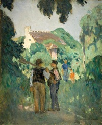 two figures in a landscape by jules adler