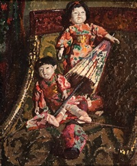 japanese dolls on a chair by boemm ritta