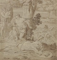 classical scene (apollo and marsyas?) by conrad martin metz
