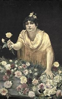 muchacha con flores by manuel de la rosa